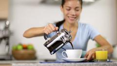 Coffee - woman making french press coffee - stock footage