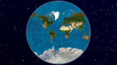 Van der Grinten world map projection - blue marble & natural earth Stock Footage