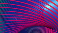 Multi colored matrix of wavy lines particle abstract motion blue background Stock Footage