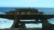 Old Pilings on South Point, Hawaii Stock Footage