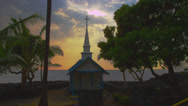 Church with Dramatic Sunset on Tropical Island Stock Footage