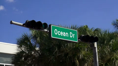Street sign Ocean Drive Miami Beach - stock footage