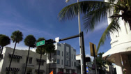 Stock Video Footage of Street Corner at Miami Beachs Art Deco district