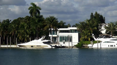 Luxury villa with yacht in Miami Florida - stock footage