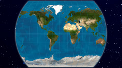 The Times world map projection - blue marble & natural earth Stock Footage