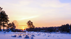 Winter landscape in the morning. Time Lapse Stock Footage