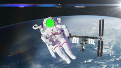 Astronaut Spacewalk by Earth, Green Screen Stock Footage