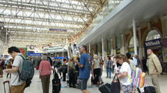 London Waterloo station filled with crowds and commuters London, UK, England Stock Footage