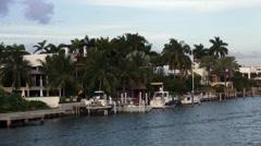 Luxury homes on Miami Islands Stock Footage