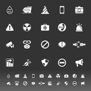 general useful icons on gray background - stock illustration