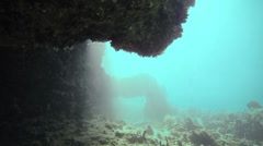 Underwater Caves  - Exploration Underwater in San Andres Colombia Stock Footage