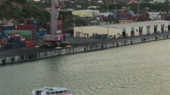 Antigua Caribbean ferry boat cargo terminal dock HD 1341 Stock Footage