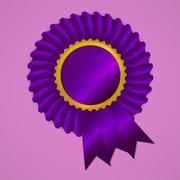 violet award ribbon rosette on pink background - stock illustration