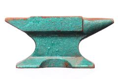 Old rusty green anvil  isolated Stock Photos
