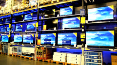 TVs are being sold at a mall wholesale - stock footage