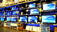 Stock Video Footage of TVs are being sold at a mall wholesale