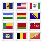 Twelve national flags on metal texture plates Stock Illustration
