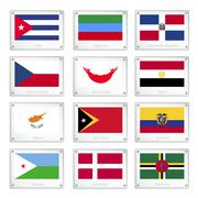 The national flags on metal texture plates Stock Illustration