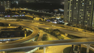 Stock Video Footage of Time lapse zooming into a busy Hong Kong freeway at night