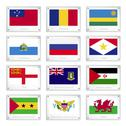 Stock Illustration of twelve countries flags on metal texture plates
