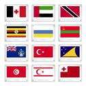 Stock Illustration of group of countries flags on metal texture plates