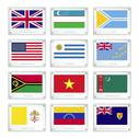 Stock Illustration of gallery of countries flags on metal texture plates