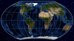 Stock Video Footage of Wagner VI world map projection - blue marble