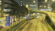 Stock Video Footage of Time lapse panning across an elevated road in the Wan Chai area of Hong Kong