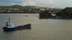 Antigua oil fuel ship harbor shoreline sunset HD 1347 Stock Footage