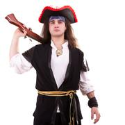 Pirate with a gun on his shoulder Stock Photos