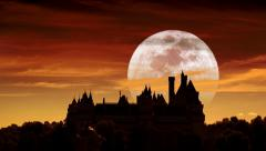 Castle and full moon Stock Footage