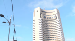 Intercontinental Hotel In Downtown Bucharest Pan-Shot Stock Footage