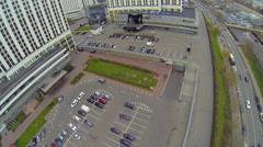 Traffic near hotels in Izmailovo, housing Alpha, Beta and Gamma Stock Footage