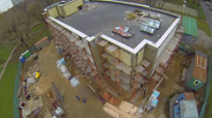 Building site of new shopping centre at autumn day in Moscow Stock Footage