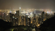 Stock Video Footage of Stunning Hong Kong vista time lapse at night