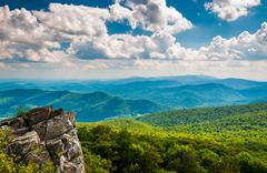 cliffs and view of the blue ridge mountains from north marshall - stock photo