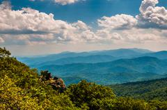 cliffs and view of the blue ridge mountains from north marshall, shenandoah n - stock photo