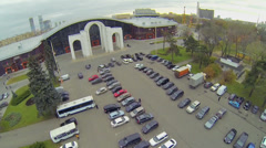 Cityscape with Mosexpo pavilion and car parking Stock Footage