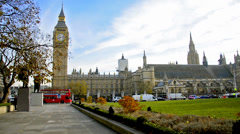 London trafic around westminister square in London Stock Footage