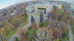 Main building of Russian State Social University with park - stock footage