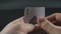 Hand Having Quad Aces Point Of View-Shot Stock Footage