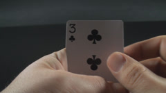 Hand Having Four Aces Point Of View-Shot Stock Footage