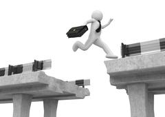 Stock Illustration of businessman jumping over the road gap