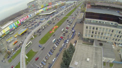 City traffic near telecentre and Ostankinskaya TV tower Stock Footage