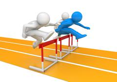 hurdle race (3d isolated on white background characters, sports series) - stock illustration