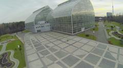 Park near buildings of Botanical Garden, Ostankinskaya TV tower Stock Footage