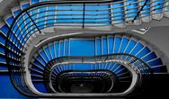 Stock Photo of blue staircase