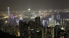 The beautiful Hong Kong skyline at night Stock Footage