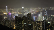Stock Video Footage of The beautiful Hong Kong skyline at night