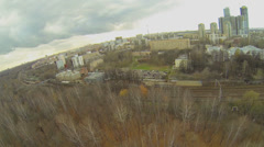 Cityscape with railway tracks at autumn day in Moscow Stock Footage